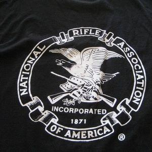 NRA logo t-shirt black cotton rifle guns XL